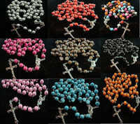 Wholesale Rosary Necklace Plastic - 925 Sterling Silver!59 plastic cross rosary necklace!10pcs