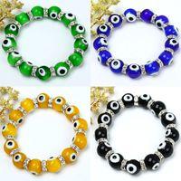 Wholesale Stretchy Bead Bracelets - 50pcs Multicolor 10mm Lampwork Evil Eye Glass Beads European Charm Stretchy Bracelet Bangle