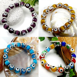 Wholesale Beautiful Glass Beads - 60pcs Beautiful Colorful 10mm Lampwork Evil Eye Glass Beads European Charm Stretchy Bracelet Bangle