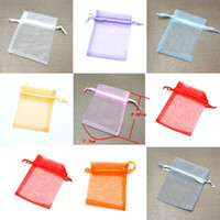Wholesale Organza Bags X 9cm - MIXED Organza Pouch Wedding Gift Bag Jewelry Bags 9cm x 7cm{3.54in x 2.76in} Gift Bag Solid Multi-Color Gift Pouch Drawstring Pouch