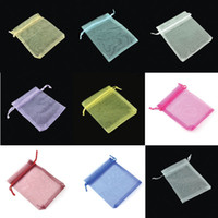 Wholesale Organza Bags 12x9cm - Gift bags, 12x9cm Organza bags , mixed colors,candy bags,500pcs lot.Solid Multi-Color Gift Pouch Drawstring Pouch