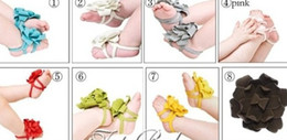 Wholesale Top Baby Flower Sandals Shoes - Hot sale 10pairs TOP BABY Baby shoes Barefoot Sandals 10 colors mix Barefoot Sandals shoes flower