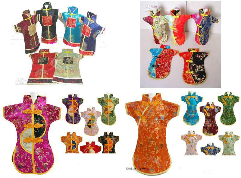 Novelty kinesisk stil semester vinflaska kläder täcker bord middag dekoration silke brocade förpackning väskor passar 750ml / mix stil och färg