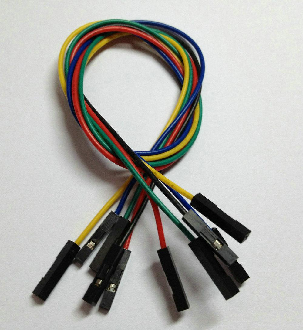 Jumper fio Fêmea para Feminino Passo 2.54mm 1 Pino 26AWG 5 cores 30 cm 11.9 polegada