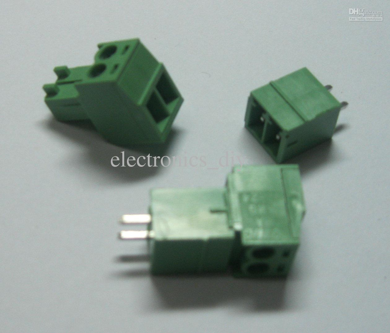 20 pcs 2pin/way Pitch 3 5mm Screw Terminal Block Connector Green Color T  Type with pin