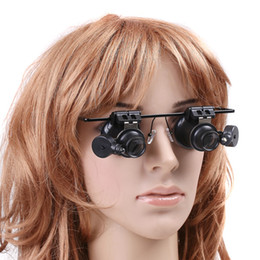 Wholesale Magnifying Glass Lenses Wholesale - 20X Jeweler Watch Repair Magnifying eye Glasses Style Magnifier Loupe Lens With LED Light H8129