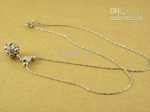 Nuevo colgante hecho a mano del grano de la flor hueco de la vendimia collar de plata tibetana pareja elegante 100pcs / lot