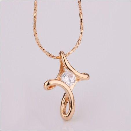 Best-seller moda jóias banhado a ouro 18 K Champagne incrustada de zircão colar frete grátis 10 pcs