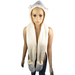 Wholesale Hooded Gloves - Animal Cap shaped design With Gloves 2015 Warm Winter Hooded Faux Downy fleece Scarf for girl gift ,NL-1769