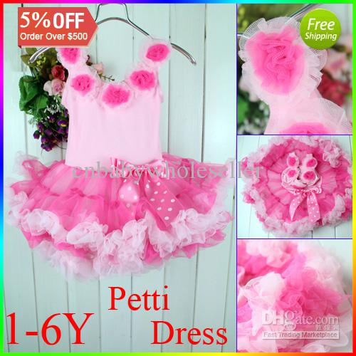 Infant Petti Tutu Dress For Girl Pink Lace Party Dress ...
