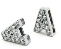 letras bling pulseira venda por atacado-Atacado 8mm 50 pçs / lote um strass completo bling diy letras de slides apto para 8mm pulseira de couro pulseira