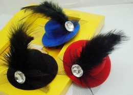 Wholesale Black Feather Fascinator Hat - EMS free Fashion Mini Top Hat Feather Hair Clips Hair Fascinator Feather Lace Hair Clip Colors Mixed