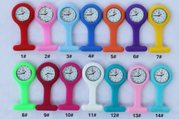 $enCountryForm.capitalKeyWord Canada - 200pcs lot Silicon Silicone Nurse Medical Watch Clip Pocket Watches With Pin 14 colors Doctor Watch
