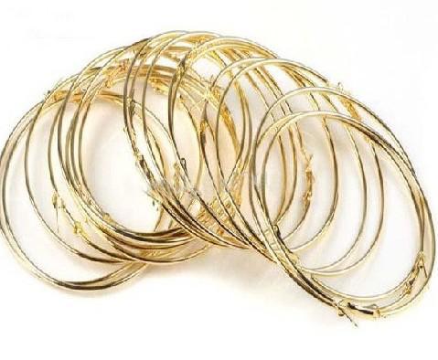 70pairs = 140pcs Poparazzi Basketball Wives Brinco Ear hoop ouro / prata 50 milímetros