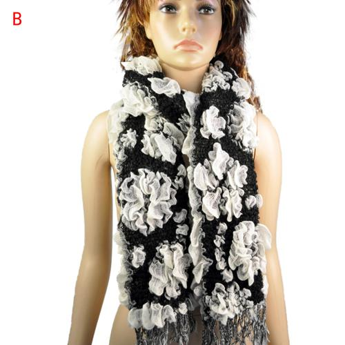 Women thicken knit jacquard flower warm winter scarf fluffy knit bubble desiger scarf , 6 colors, NL-1774