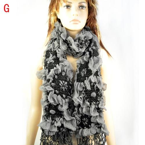 Women thicken knit jacquard flower warm winter scarf fluffy knit bubble desiger scarf , NL-1774