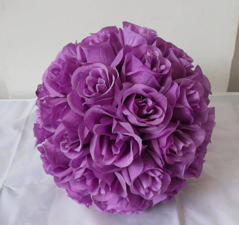 2018 Artificial Silk Kissing Open Roses Flower Ball Purple\/Lavender Color From Ericjiang, $102