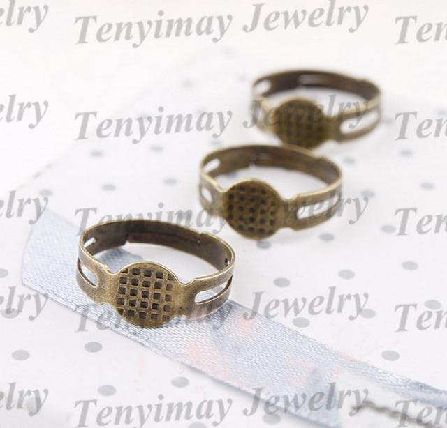 Anel de cobre torus frete grátis base de anel ajustável para DIY, acessórios para anéis de cobre