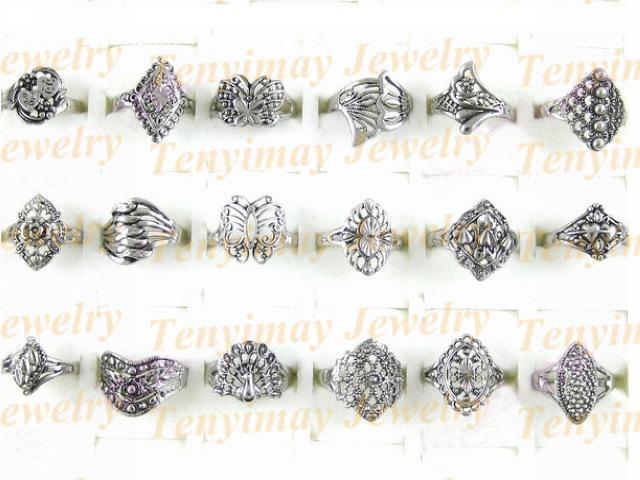 Retro-Legierung Ringe Großhandel Mix Größe, Mix-Design, günstige Vintage-Legierung Ringe passen Förderung