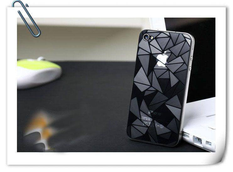 iPhone 4 4S 50pcs için Temizle 3D Su Küpü Glare Ekran Koruyucu Film Koruyucu Kapak Sticker