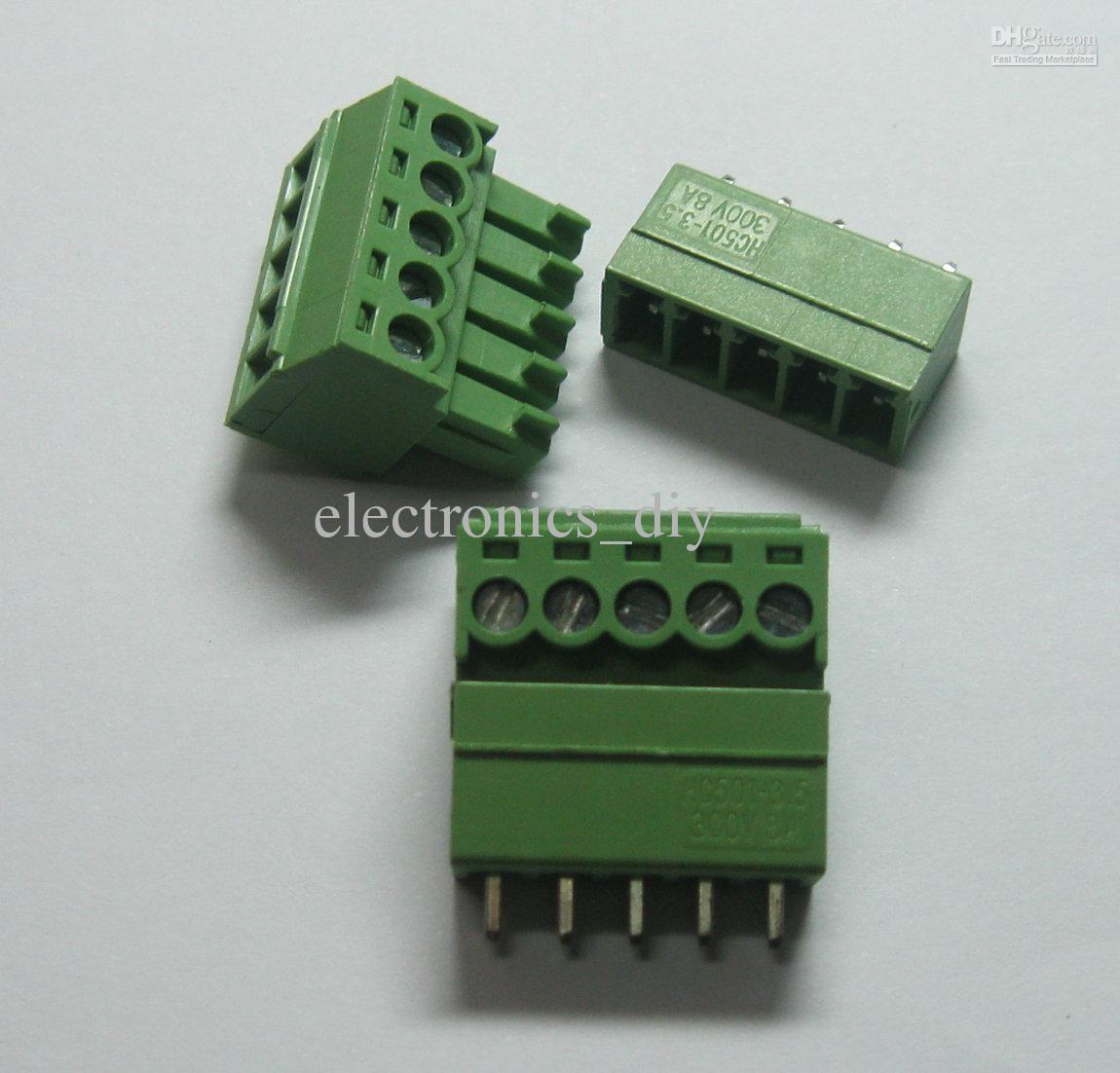 5pin / way Passo 3.5mm Conector Do Bloco de Terminais de Parafuso Cor Verde Tipo T com pino