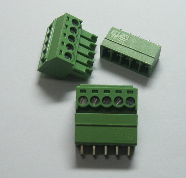 top popular 20 pcs 5pin way Pitch 3.5mm Screw Terminal Block Connector Green Color T Type with pin 2021