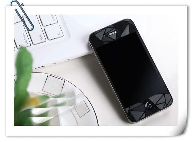 Claro de la pantalla del cubo del agua 3D deslumbramiento película protectora cubierta de pegatinas para el iPhone 4 4S 50PCS