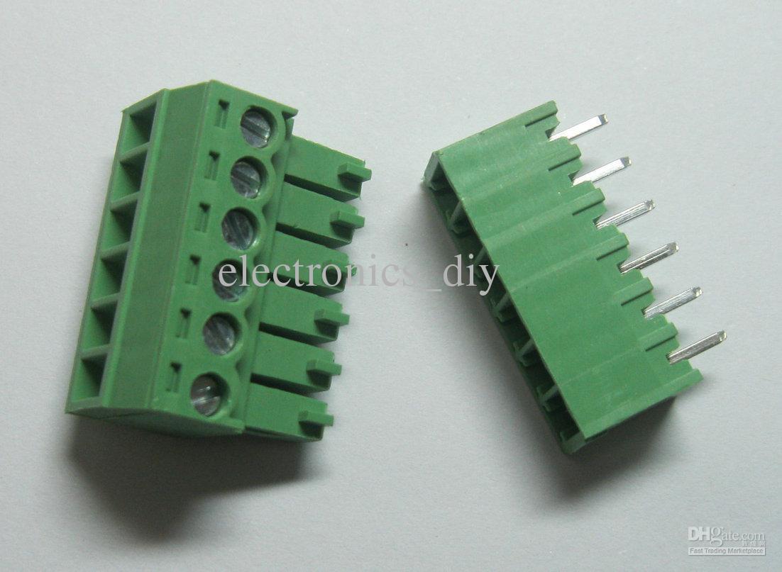 6pin / way Pas 3.5mm Connecteur à bornier à vis Vert Couleur T Type avec épingle
