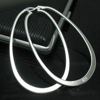 Wholesale Bling Earrings Hoops - 925 Silver Earrings Jewelry HipHop Bling Big Big Hoop Earrings For Women's Earring 10pairs lot Hot Sale