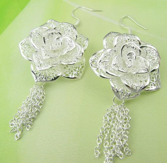 Mode fabricant de bijoux beaucoup Grandes fleurs boucles d'oreilles 925 bijoux en argent sterling prix usine Mode Shine boucles d'oreilles