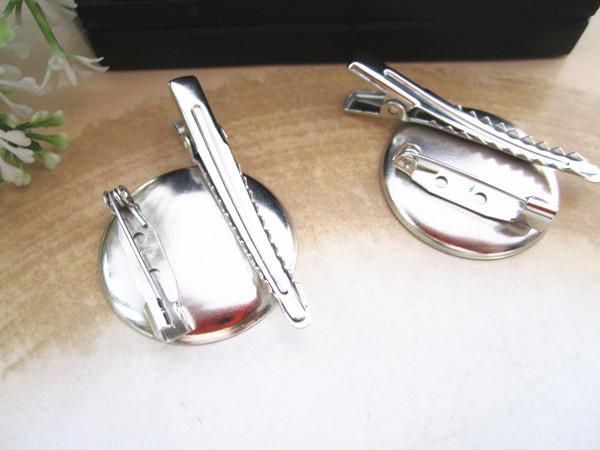 Gümüş metal Saç Klip Broş Pin Destekleri 25 MM 100 adet / grup