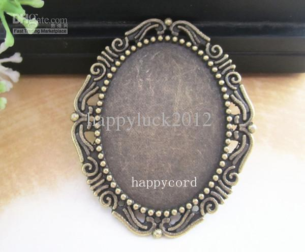 30mmx40mm Oval Plated Cabochon Pendant Base RC032 Antique silver and bornze color 40pc/lot