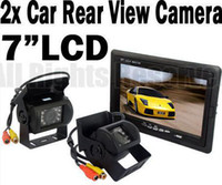 "Wholesale Car Monitor Cables - 2x 18 LED IR Reverse Camera + 7"" LCD Monitor Car Rear View Kit + free 10m cable for bus Truck"