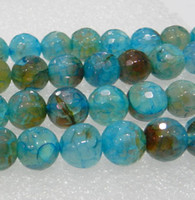 Wholesale Dragon Vein Agates - 6mm,8mm,10mm Faceted Blue Dragon Veins Agate Round Loose Bead 15inch