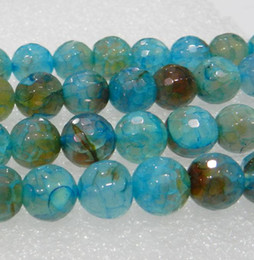 Wholesale Blue Round Stone Beads - 6mm,8mm,10mm Faceted Blue Dragon Veins Agate Round Loose Bead 15inch