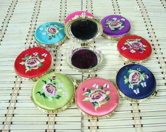 Embroidered Peony Flower Pocket Compact Mirrors Wedding Birthday Party Favors Pretty Double sided Small Ladies Makeup Mirror Portable /