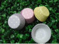 Wholesale White Paper Muffin Cups - 1000pcs hot white dot with colorful cupcake liners baking paper cup muffin cases for party