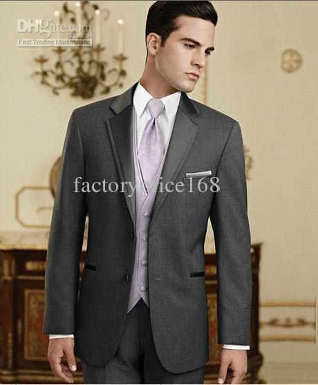 Gris de alta calidad Nuevos Dos Botones Muesca Solapa Novio Tuxedos / Traje de Boda para Hombre Trajes de Novio Chaqueta + Pantalones + Corbata + Chaleco 07