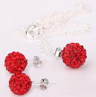 Wholesale Disco Balls Necklace Pendants - Best-selling Mix 100set 10MM Disco ball Earrings Pendants Necklace Set