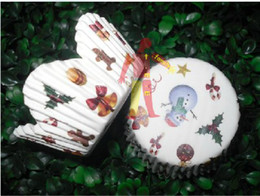 Wholesale Paper Xmas Trees - 500pcs cute snowman with xmas tree petal cupcake liners baking paper cup muffin cases for party