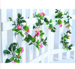 Wholesale Best Artificial Flowers - best Free shipping Artificial Hanging Rose Garland Silk Flower Vine Wedding Home Garden Party Decor