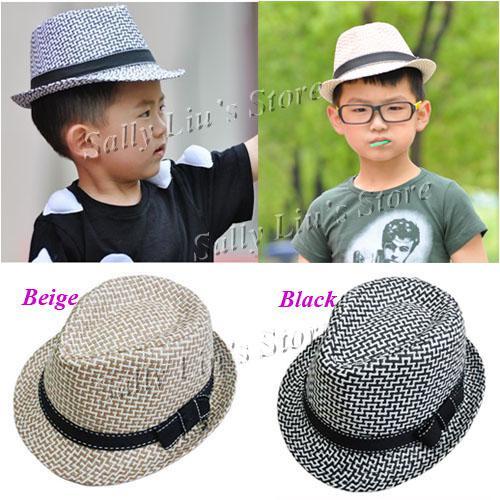 2019 Baby Straw Fedora Hat Baby Hat Checked Infant Summer Cap Kids Straw  Cowboy Hat Children Straw Hats From Charles27 eaae088c6c7