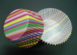 Cupcakes Mix Canada - 500pcs mulity color mix stripes cupcake liners baking paper cup muffin cases for party