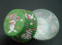 Wholesale Muffin Case Green - 500pcs happy rabbit Easter with green cupcake liners baking paper cup muffin cases for party