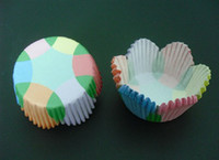 Wholesale Cross Line Case - 500pcs cross line mix color petals cupcake liners baking paper cup muffin cases for party