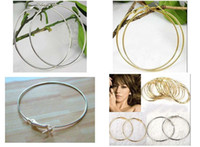Wholesale Big Hoop Earrings Basketball Wives - Mix colors 50mm 60mm 70mm 80mm 80pairs Big Circle Earrings Gold Silver Basketball wife Earrings