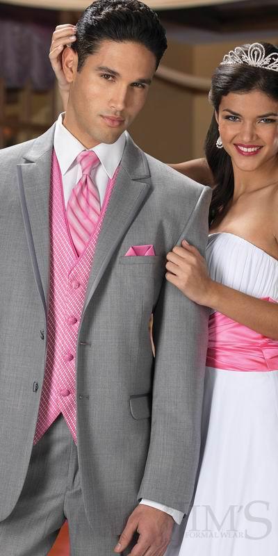 Top Qualität neue zwei Tasten Notch Revers grau Bräutigam Smoking / Hochzeit Herren Anzug Bräutigam Anzüge Jacke + Hose + Tie + Weste
