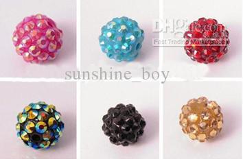 200 PCS 10 MM 12 MM 14 MM 16 MM Mix couleur EXPOY boules résine cristal Pave Spacer perles en vrac