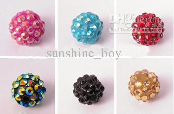 200PCS 10MM 12MM 14MM 16MM Mix Color EXPOY Balls Resin Crystal Pave Spacer Loose Beads