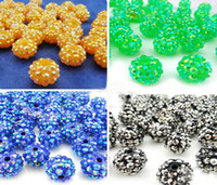 Wholesale Resin Rhinestone Paves Ball Beads - 100PCS 10MM 12MM 14MM 16MM Mix Color Rhinestone EXPOY Balls Resin Crystal Pave Spacer Loose Beads
